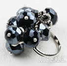 Faceted Black Crystal Adjustable Ring
