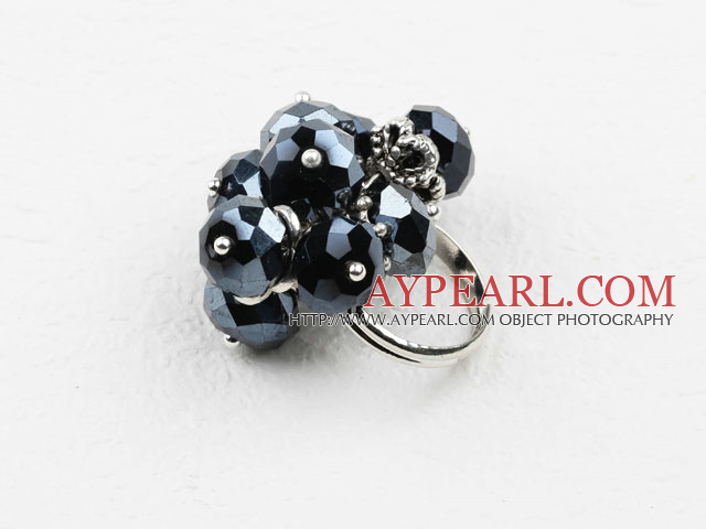 Fashion Cluster Style 8*10Mm Faceted Black Crystal Adjustable Ring