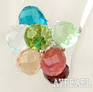Wholesale Assorted Multi Color Drop Crystal Spring Adjustable Ring