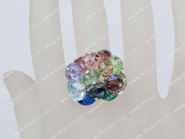 Beautiful Multi Colorful Crystal Cluster Ring With Adjustable Metal
