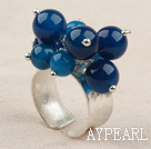 Classic Design Blue Agate Thai Silver Adjustable Ring