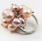 Wholesale Classic Design Pink and Purple Freshwater Pearl Adjustable Ring