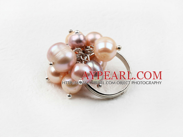 Classic Design Pink and Purple Freshwater Pearl Adjustable Ring