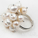 Wholesale Classic Design White Freshwater Pearl Adjustable Ring