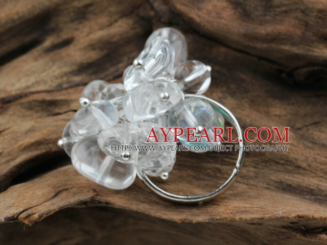 Classic Design Assorted White Crystal Adjustable Ring