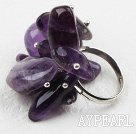 Classic Design Assorted Amethyst Adjustable Ring