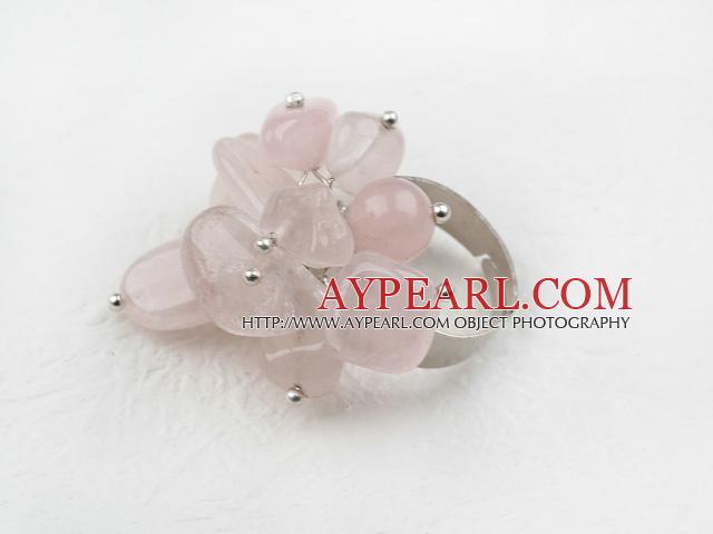 Classic Design Assorted Rose Quartz Adjustable Ring