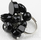 Classic Design Assorted Black Achat Verstellbarer Ring