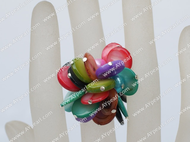 Lovely Dyed Pearl And Multi Color Disc Shell Adjustable Ring