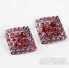 Discount Rhombus Shape Pink and Red Rhinestone Fashion Studs Earrings