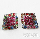 Style Fashion Rhombus Forme Multi Color strass Boucles d'oreilles surdimensionnées Goujons