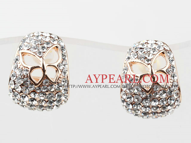 Fashion Style Hollow Butterfly Rhinestone Gold Plated Hypoallergenic Hoop Studs Earrings