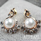Fashion Style Phoenix and Immitation Pearl Rhinestone Gold Plated Hypoallergenic Studs Earrings