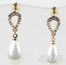 Fashion Style Immitation Drop Pearl Rhinestone Gold Plated Hypoallergenic Studs Earrings