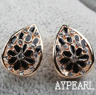 Discount Fashion Style Drop Shape Rhinestone Gold Plated Hypoallergenic Studs Earrings