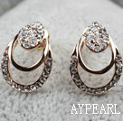 Fashion Style Hollow Teardrop Shape Rhinestone Gold Plated Hypoallergenic Studs Earrings
