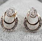 Fashion Style Hollow Teardrop Shape Rhinestone Gold Plated Hypoallergenic Studs Earrings