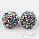 Fashion Style Half Ball Shape Multi Color Rhinestone Studs Earrings
