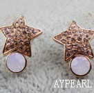 Fashion Style Star Form Rhinestone och Immitation Gemstone Guldpläterade hypoallergent Studs Örhängen