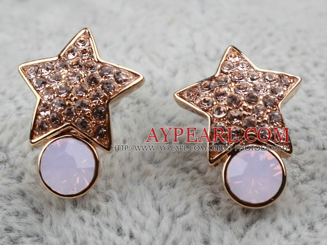 Fashion Style Star Shape Rhinestone and Immitation Gemstone Gold Plated Hypoallergenic Studs Earrings