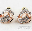 Fashion Style Valentine Coin Shape Rhinestone Gold Plated Hypoallergenic Studs Earrings