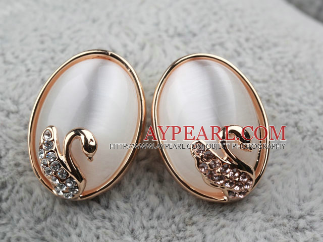 Oval Shape Immitation White Cat's Eye Gold Plated Hypoallergenic Studs Earrings