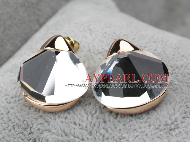 Fashion Style Immitation Gemstone Rhinestone Gold Plated Hypoallergenic Oversized Studs Earrings