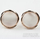 Round Immitation Cat's Eye Gold Plated Hypoallergenic Studs Earrings