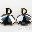 Fashion Style Big Immitation Gemstone Rhinestone Gold Plated Hypoallergenic Studs Earrings
