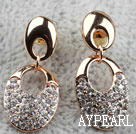 Fashion Style Oval Shape Rhinestone Gold Plated Hypoallergenic Studs Earrings