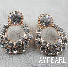 Discount Fashion Style Ring Shape Rhinestone Gold Plated Hypoallergenic Studs Earrings