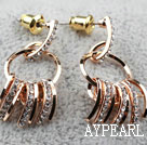 Fashion Style Claw Shape Rhinestone Gold Plated Hypoallergenic Studs Earrings