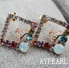 Fashion Style Rhombus Shape with Crown Rhinestone Gold Plated Hypoallergenic Studs Earrings