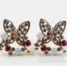 Wholesale Fashion Style Butterfly Shape Multi Color Rhinestone Gold Plated Hypoallergenic Studs Earrings