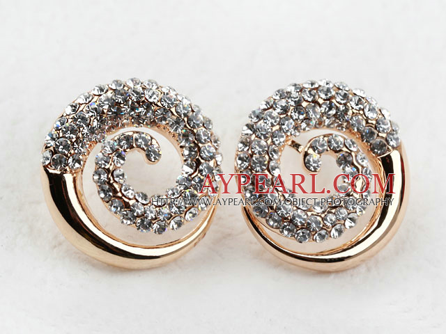 Fashion Style Spiral Shape Rhinestone Gold Plated Hypoallergenic Studs Earrings
