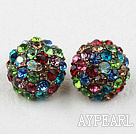 Fashion Style Half Ball Shape Multi Color Rhinestone Studs Earrings