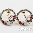 Wholesale Fashion Style Ring Shape Rhinestone with Crown Gold Plated Hypoallergenic Studs Earrings