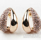 Fashion Style Rhinestone Gold Plated Hypoallergenic Hoop Studs Earrings