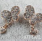 Wholesale Fashion Style Butterfly Shape Rhinestone with Heart Accessories Gold Plated Hypoallergenic Studs Earrings