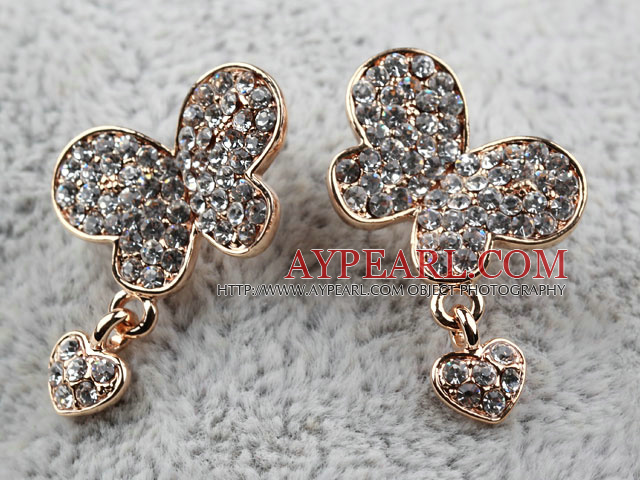 Fashion Style Butterfly Shape Rhinestone with Heart Accessories Gold Plated Hypoallergenic Studs Earrings