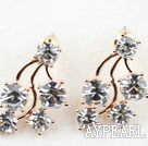 Fashion Style Meteor Shape Rhinestone Gold Plated Hypoallergenic Studs Earrings