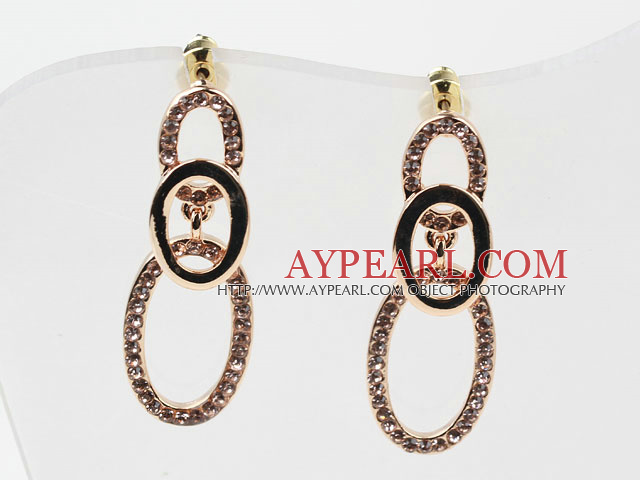 Fashion Style Lover Coin Shape Rhinestone Gold Plated Hypoallergenic Studs Earrings