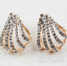 Fashion Style Hollow Claw Shape Rhinestone Gold Plated Hypoallergenic Studs Earrings