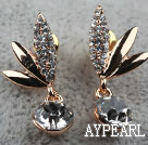 Fashion Style Dragonfly Shape Rhinestone Gold Plated Hypoallergenic Studs Earrings