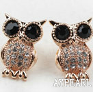 Fashion Style Owl Shape Rhinestone Gold Plated Hypoallergenic Animal Studs Earrings