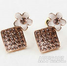 Discount Fashion Style Rhombus Shape Rhinestone with Flower Accessories Gold Plated Hypoallergenic Studs Earrings