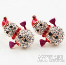 Fashion Style Snowman Shape Rhinestone Gold Plated Hypoallergenic Studs Earrings