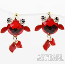 Fashion Style Red Goldfish Shape Rhinestone Gold Plated Hypoallergenic Studs Earrings