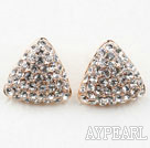Wholesale Fashion Style Triangle Shape Rhinestone Gold Plated Hypoallergenic Studs Earrings