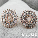 Fashion Style Sunflower Shape Rhinestone Gold Plated Hypoallergenic Studs Earrings
